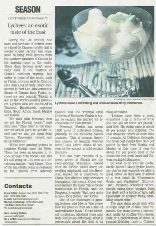 Photo of the lychee article in the New Jersey Star Ledger on Wednesday, June 5, 2003.